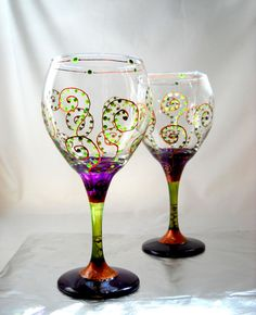 Amethyst Wines Hand Painted Glasses Purple Glassware via Etsy
