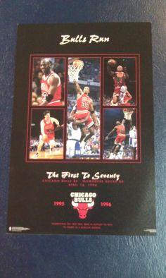 Chicago Bulls MICHAEL JORDAN Bulls Run The First to 70 Mini NBA Poster RARE FIND