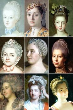 "18th Century Woman's Hairstyles, among them the tête de mouton (or ""sheep's head""), the pouf..."