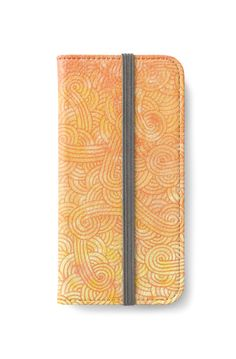 Ombre yellow and orange swirls doodles iPhone Wallet by @savousepate on @redbubble #iphonewallet #phonewallet #doodles #zentangle #abstract #modern #graphic #geometric #orange #fall #autumn