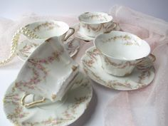 Reserved for Sandy Vintage Haviland Limoges Pink by thechinagirl