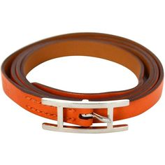 Preowned Hermes Orange Swift Leather Hapi Wrap Around Bracelet ($300) ❤ liked on Polyvore featuring jewelry, bracelets, orange, preowned jewelry, hermes bangle, leather jewelry, pre owned jewelry and wrap jewelry