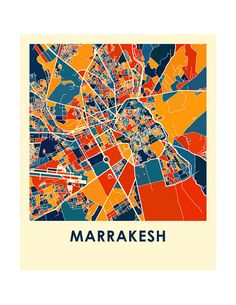 Marrakesh Map Print Full Color Map Poster by iLikeMaps on Etsy