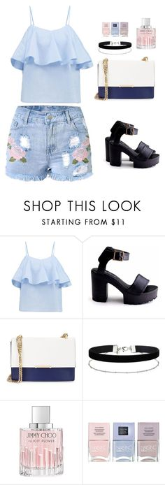 """Untitled #798"" by nbl1593 ❤ liked on Polyvore featuring Ivanka Trump, Miss Selfridge, Jimmy Choo and Nails Inc."
