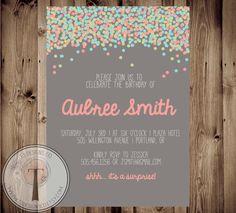 Confetti birthday invitation, bright birthday invitation, modern, adult birthday, 30th birthday, 40th, 21st birthday, party invitation