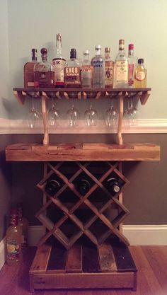 Wine rack bar made from salvaged pallets.