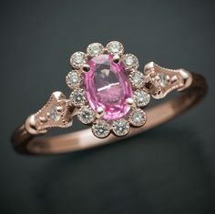 Pink Sapphire in Pink gold Engagement ring with natural diamonds $750