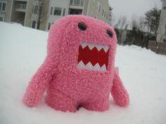 domo kun, domo kun in snow, pink