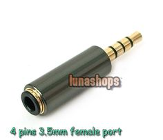 $4.00 - 4 pole 3.5mm Male to Female adapter Convertor for Iphone Nokia Moto handfree - LS001073 -