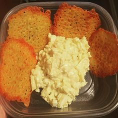 lunch/ Egg salad with cheese crisps