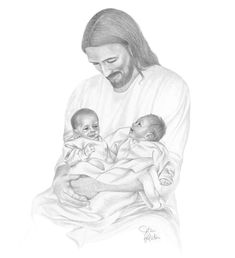Pencil drawing of twin baby girls being held by the Savior.