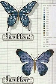 Butterfly beading or cross stitch Butterfly Stitches, Butterfly Cross Stitch, Butterfly Pattern, Blue Butterfly, Cross Stitching, Cross Stitch Embroidery, Embroidery Patterns, Cross Stitch Designs, Cross Stitch Patterns