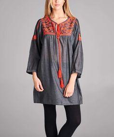 Look what I found on #zulily! Black & Orange Contrast-Panel Tunic Dress - Plus #zulilyfinds