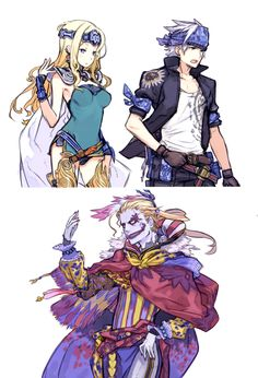 Final Fantasy 6 Locke, Celes, & Kefka