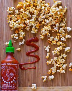 Sriracha Popcorn. Game day snack at it's finest| BetsyLife