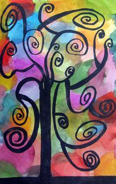 Klimt art project- black marker tree- watercolor background