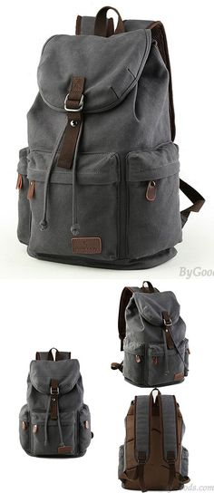 Flap Travel Canvas Backpack With USB Interface Drawstring Large Capacity Camping Rucksack for big sale! #backpack #Bag #school #college #student #women