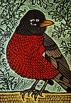 Painted Woodcut. Lisa Brawn. Consider lino cut, styrofoam print, or oil pastel on black paper.