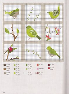 Cross Stitching Birds Spring Green Kreuzstich V? Cross Stitch Bird, Cross Stitch Animals, Cross Stitch Flowers, Cross Stitch Charts, Cross Stitch Designs, Cross Stitching, Cross Stitch Embroidery, Embroidery Patterns, Hand Embroidery