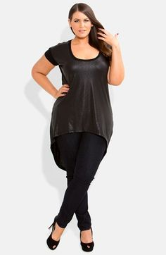 8787a9fb8b0 City Chic Wet Look High Low Tee (Plus Size) available at  Nordstrom