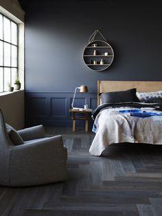 bedroom walls herringbone flooring by Royal Oak Floors. Wall colour – Dulux Mirage Blue. Photo – Eve Wilson.