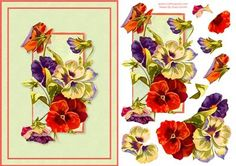 Pansies Quick Card on Craftsuprint designed by Russ Smith - A5 card front and decoupage layers using a vintage painting of pansies in red, purple, white and green. Also available as a more 'modern' card front, please see related sheets below. - Now available for download!