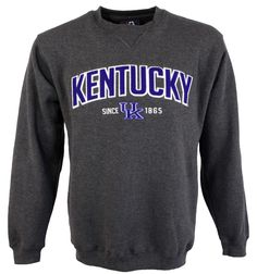 The perfect comfort crew for ladies or men, this classic Kentucky heavyweight crew, with varsity appliqué stitching, is a great way to show your University of Kentucky pride! This cozy Kentucky crew n