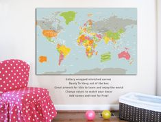 Canvas World Map, Playground World, 24X36, Travel Artwork, Travel gift, Farewell, Gift for home, Maps for kids