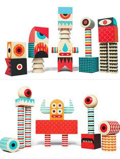 Stack And Scare! Monster Blocks by Invisible Creature Diy For Kids, Crafts For Kids, Invisible Creature, Woodworking For Kids, Monster Party, Wooden Dolls, Designer Toys, Wood Toys, Diy Toys