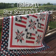 Hey guys! I have a fun tutorial for you. I made this patriotic quilt for my mom this year, and I had so many questions on how I created the star sashing in between my blocks. I put up a tutorial on Instagram, but since that's kind of hard to find in my feed, I wanted to have one here…