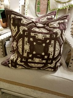 Lappa Chocolate Style pillow, $69.95 each, or $120 for the pair.  Gaslamp Antiques Too, booth T190.