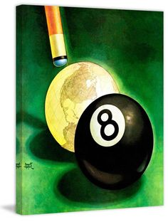 Marmont Hill World As Cue Ball Fine art canvas print from the Marmont Hill Art C 29 x 24 Home Decor Wall Decor Canvas Art