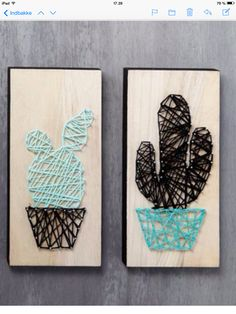 String Art Cacti on wooden Icons - Creative ideas Easy Yarn Crafts, Fun Crafts, Diy And Crafts, Arts And Crafts, Arte Linear, Crochet Cactus, Desert Art, Cactus Art, Creative Activities