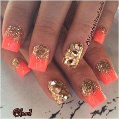 coral gold @pinkandwhitenailstudio
