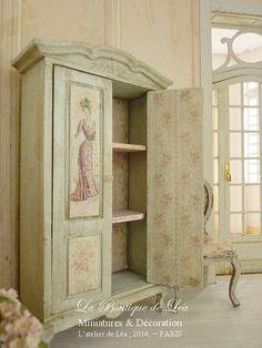Romantic wardrobe Edwardian fashion Furniture for by AtelierdeLea Decoupage Furniture, Shabby Chic Shelves, Beautiful Furniture, Decor, Furniture, Wooden Wardrobe, Furniture Styles, Painted Furniture, Doll Furniture