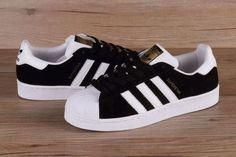 Adidas Originals - Adidas Superstar Suede Trainers in Black   White ... ae9824da30f3