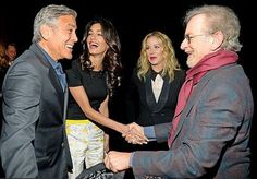 "Amal Clooney in Giambattista Valli Resort 2015 at the Oscars ""Night before the Party"" 21.02.2015. From left: George Clooney and wife Amal mingled with Christina Applegate and Steven Spielberg at the soiree. Clooney and Spielberg were among those on this year's host committee for the charity bash, benefiting the Motion Picture & Television Fund; Clooney also is on the MPTF's board of directors."