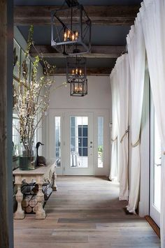 Traditional Entryway With Salvage Lantern, High Ceiling, Exposed Beam,  Chandelier, Distressed Rectory Large Console