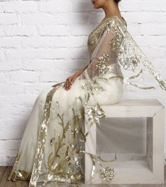 Cream Net Sequined Saree