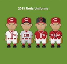 2013 Cincinnati #Reds uniforms. 8-Bit style.