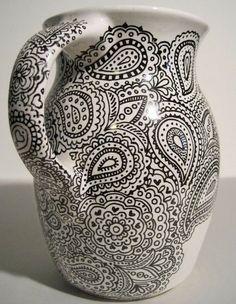 Hand Drawn Paisley Sharpie Art on Ikea Milk Vase Motif Paisley, Paisley Design, Paisley Pattern, Paisley Print, Pottery Painting, Ceramic Painting, Diy Painting, Ceramic Cafe, Ceramic Pottery