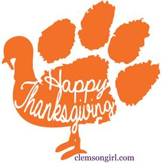 Clemson Girl - Happy Thanksgiving! Visit clemsongirl.com to get this Paw Turkey design for crafting!