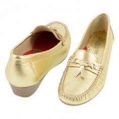 948b83a9d1d Mocasines piel metalizada antifaz y lazo Zapatos Planos