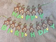 Monkey and Banana Happy Birthday Banner. Can be personalized with name and age.