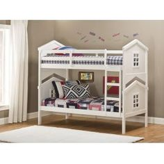 Bring the play house back to the bedroom with the Hillsdale House bunk bed. Constructed of solid hardwood, the double decker house-shaped bunk bed brings fun and adventure to any child's bedroom.