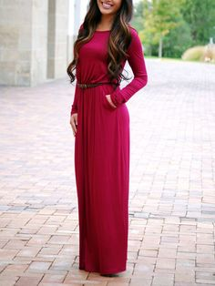 Burgundy Long Sleeve Pockets Maxi Dress