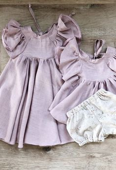 Little Girls Sweet Handmade Luxury Linen Savanna Dress & Blouse | MiyaAndMa on Etsy #handmadebaby