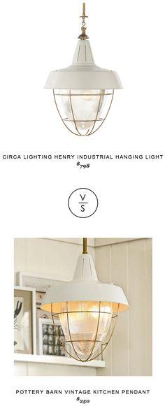 Circa Lighting henry industrial hanging light $798 vs Pottery Barn Vintage Kitchen Pendant $250