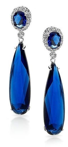Sapphire, Diamond and 18K White Gold Earrings                              …