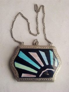 ART DECO FMCO ENAMEL POWDER COMPACT VANITY CASE WITH WRISTLET CIRCA 1920 | eBay<3